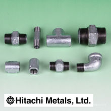 Popular black and galvanized malleable iron plug pipe fittings for general use. Manufactured by Hitachi Metals. Made in Japan